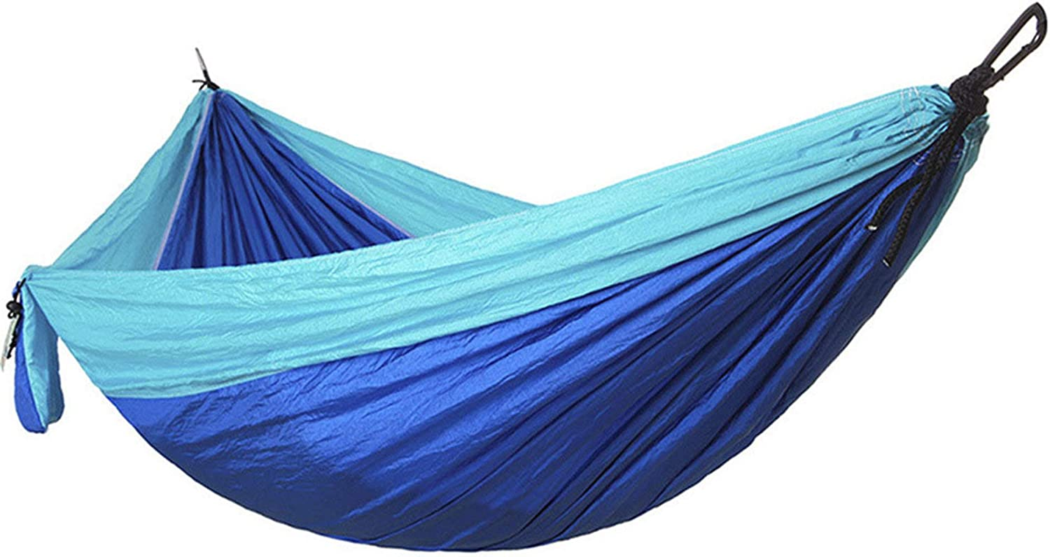 Double Hammock with Tree Straps Camping Travel Beach Yard Lightweight Ripstop Nylon Portable Camping Hammock (Blue,270140CM)