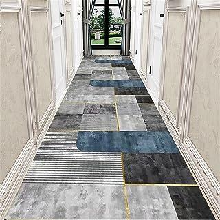 TONGQU Tapis de Couloir Antidérapant, Moderne Géométrie Lavable Polyester Longue Tapis pour Couloir Salon Cuisine Chambre ...