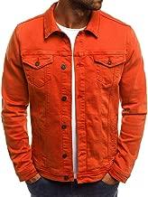 Realdo Mens Denim Jacket, Men's Solid Color Vintage Button Tops Coat with Pocket