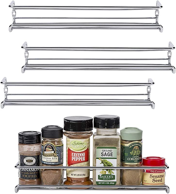 Unum Chrome Wall Mount Cabinet Door Spice Rack X4 Single Tier Hanging Spice Organizers Racks Pantry Kitchen Wall Cupboard Over Stove And Closet Door Storage 11 3 8 L X 3 D X 2 H