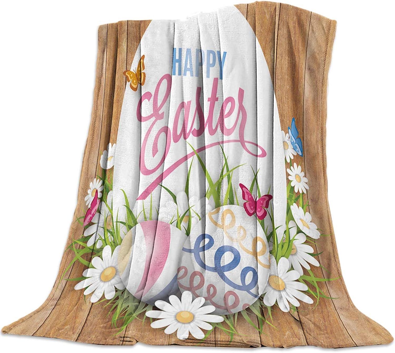Cozy Warm Lightweight Microfiber Throw Blankets,Soft Flannel Fleece Bed Throw Easter Easter Eggs Flowers Butterflies Board,Luxury Fuzzy Blankets for Adults Girls Kids Boys Dogs Couch,49''W x 59''L