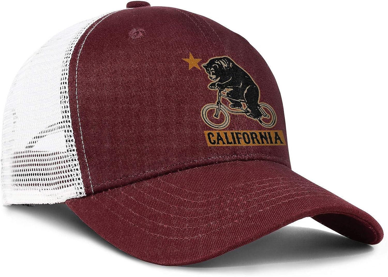 Cute California Bear on Bike Mens Mesh Ball Adjustable Snapback Sun Hat