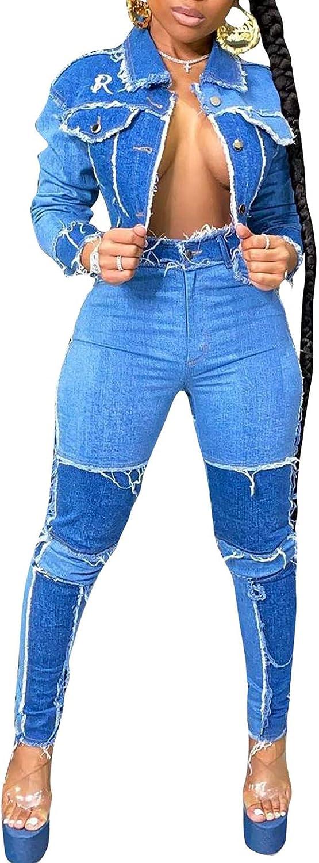DINGANG Womens 予約販売 Retro 2 Piece Denim Skinny Pant Sets Jeans Distre 注文後の変更キャンセル返品