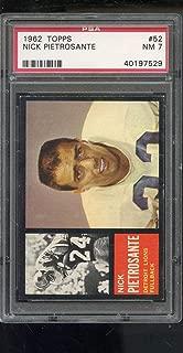 1962 Topps #52 Nick Pietrosante Detroit Lions NM PSA 7 Graded Football Card NFL