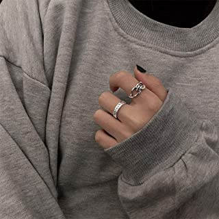 YERTTER Set of 2 Gothic Punk Ring Set Half Open Finger Ring Twisted Stackable Knuckle Ring for Women or Men