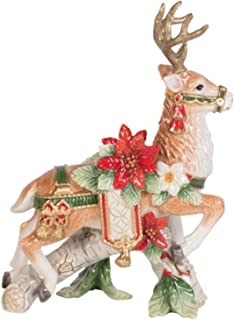 Fitz and Floyd Cardinal Christmas Left Deer Candle Holder, Holiday Red