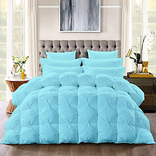 Dozeology All-Season – Luxury Pinch Pleated Pintuck Twin 64x88 Size 3 Piece Quilted Comforter Set, 400 GSM Microfiber Fill Box Stitched with 4 Corner tabs - Machine Washable, Aqua Solid