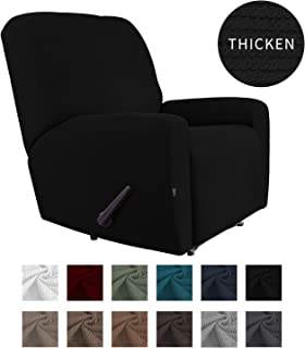 Easy-Going Thickened Recliner Stretch Slipcover, Sofa Cover, Furniture Protector with Elastic Bottom, 4 Pieces Couch Shield, Sturdy Fabric Slipcover, Pets,Kids,Children,Dog,Cat (Recliner,Black)
