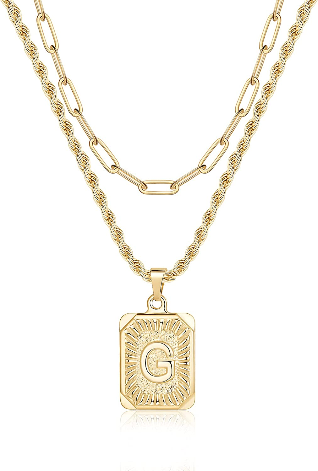 Gold Layered Initial Necklaces for 14K trust Women Initia Max 90% OFF Plated