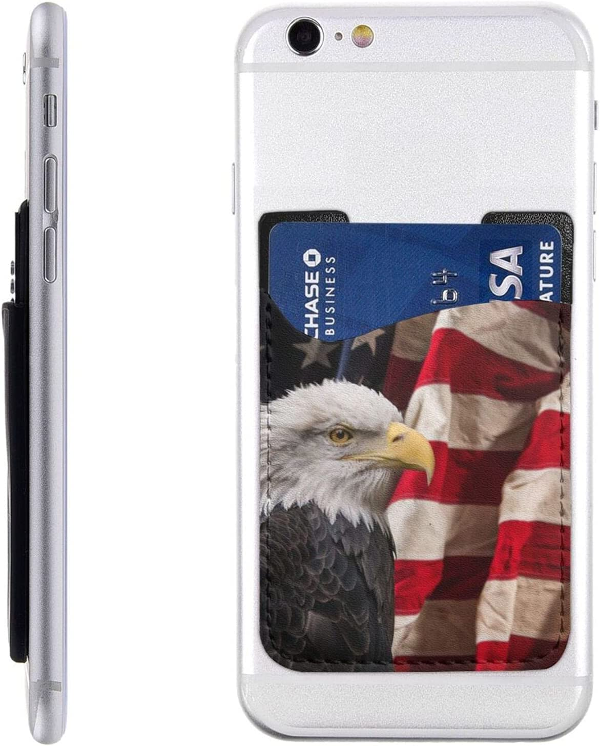 American Eagle Flag Phone Card Holder,Cool Pu Leather Credit Card Wallet Phone Case Pouch Sleeve Pocket for All Smartphones