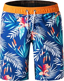 QRANSS Mens Printed Swim Trunks Beach Shorts with Drawstring