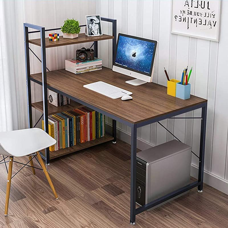 Tower Computer Desk With 4 Tier Shelves 47 6 Multi Level Writing Study Table With Bookshelves Modern Steel Frame Wood Desk Compact Home Office Workstation Walnut