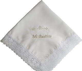 Pañuelo bautizo bordado letras plateadas 35x35 cm