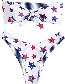 ZAFUL Women's Tie Knot Front American Flag Reversible Bandeau Bikini Set