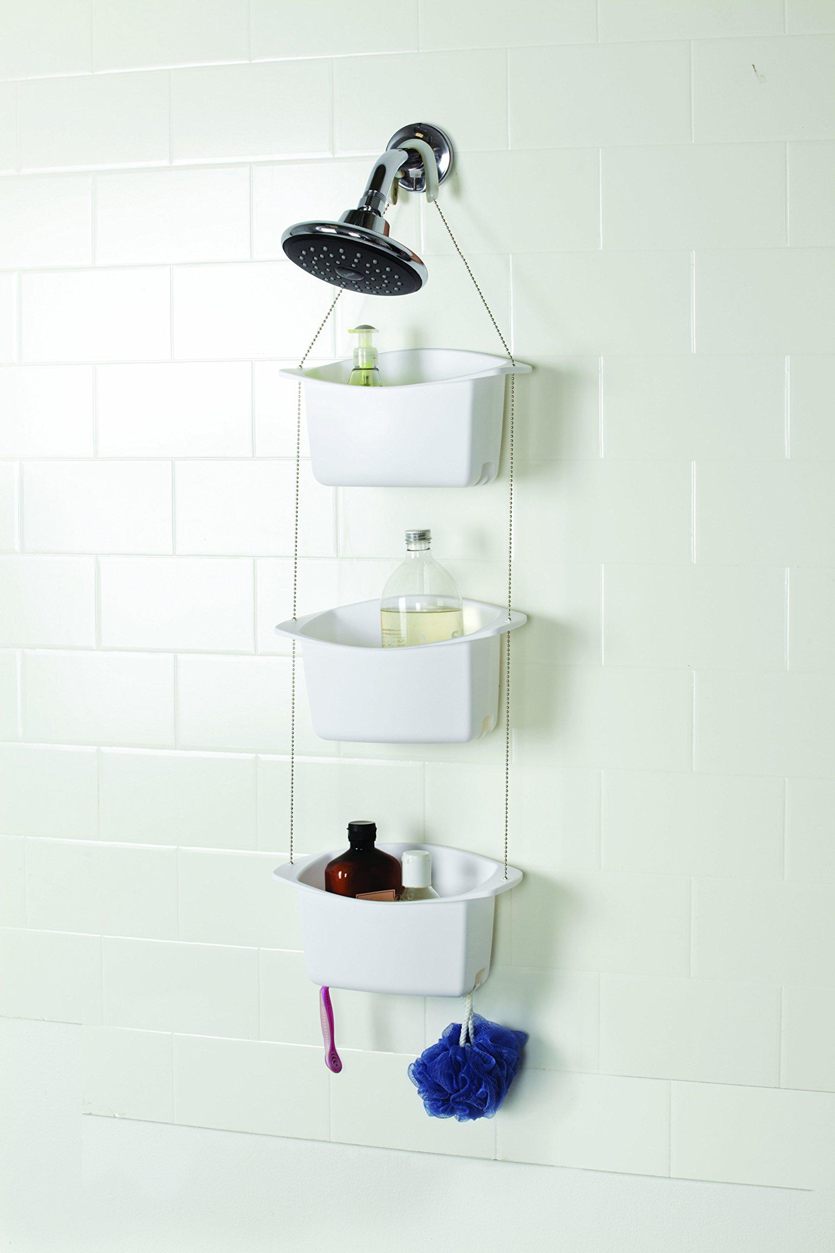 AmazonBasics - Estante de ducha ajustable, 3 cestos, Blanco ...