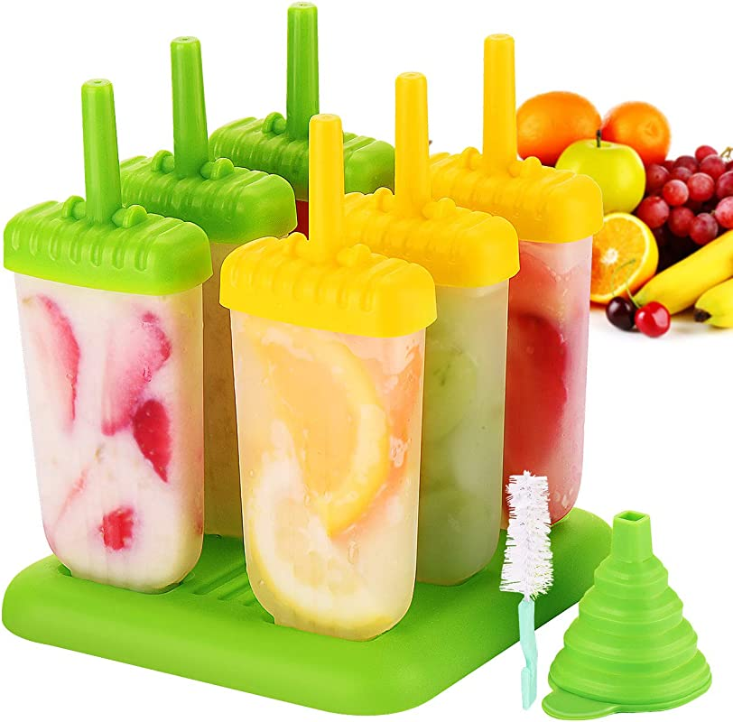 IKICH Popsicle Molds Set Upgraded BPA Free FDA Certified Food Safe 6 Pack Reusable Ice Pop Molds Makers Drip Guard Handle Easy Release Ice Cube Tray Molds With Folding Funnel And Cleaning Brush