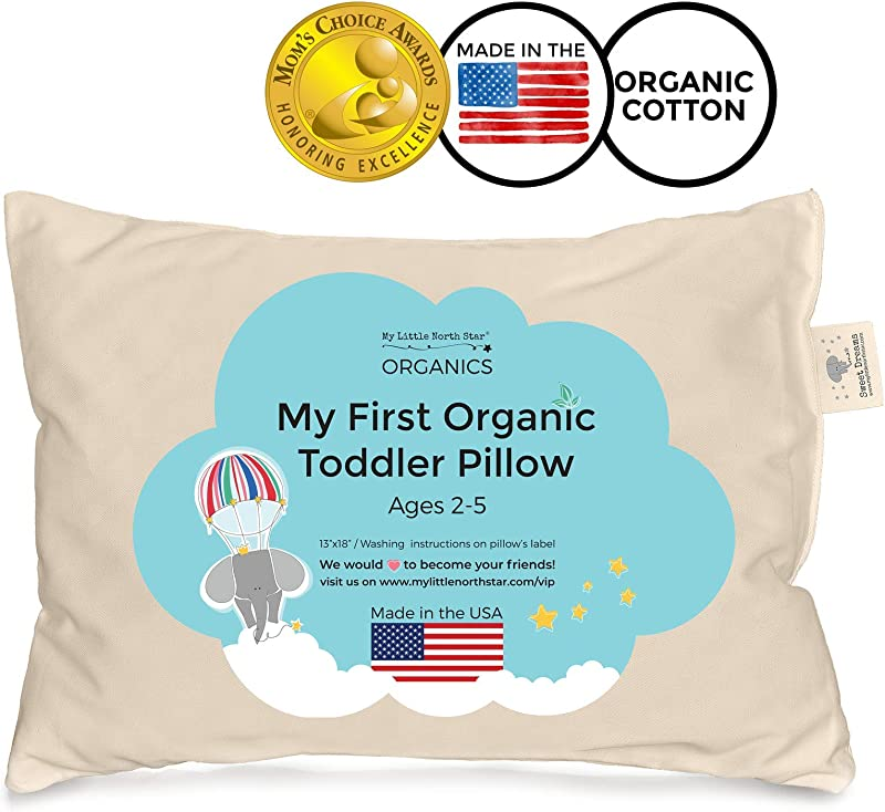 Toddler Pillow Organic Cotton Made In USA Washable Unisex Kids Pillow 13X18