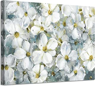 Abstract Flower Wall Art Picture: White Floral Artwork Painting on Canvas for Living Room (36'' x 24'' x 1 Panel)
