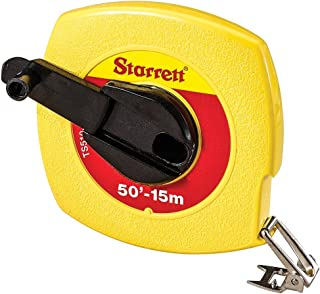 Starrett KTS510-50ME-N ABS Plastic Yellow Case Closed Reel Steel Long Tape, English/Metric Graduation Style, 50' (15m) Length, 0.375