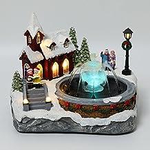 EHCNYU Nova decoração de aldeia de Natal, luz de animação, música, LED, fonte de luz de LED, ornamentos de Natal, decoraçã...