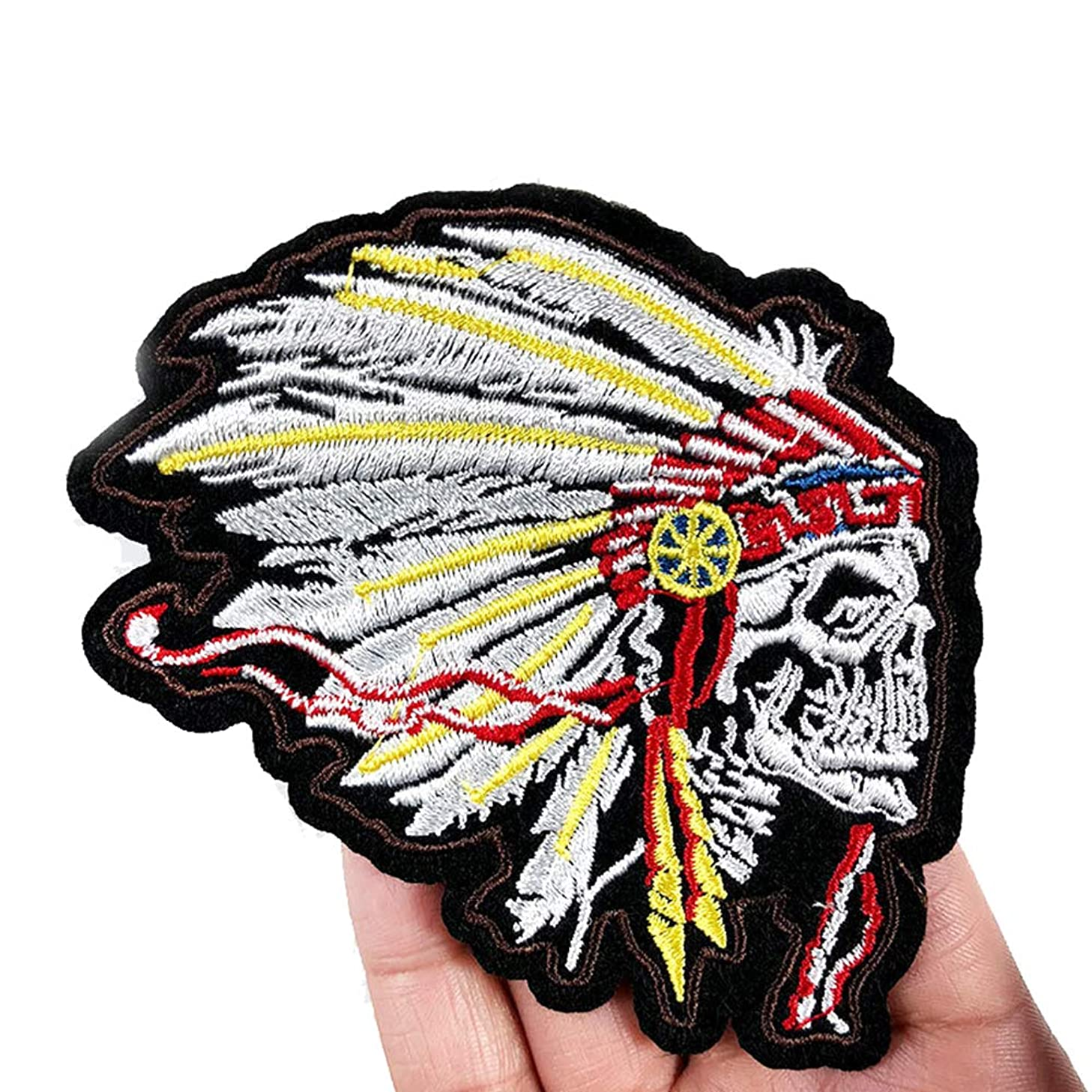 2 Pcs Skull Chief Delicate Embroidered Patches, Cute Embroidery Patches, Iron On Patches, Sew On Applique Patch,Cool Patches for Men, Women, Kids