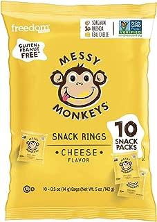 MESSY MONKEYS Baked Cheese Snack Rings, 10 Single Serve Bags (Gluten Free)