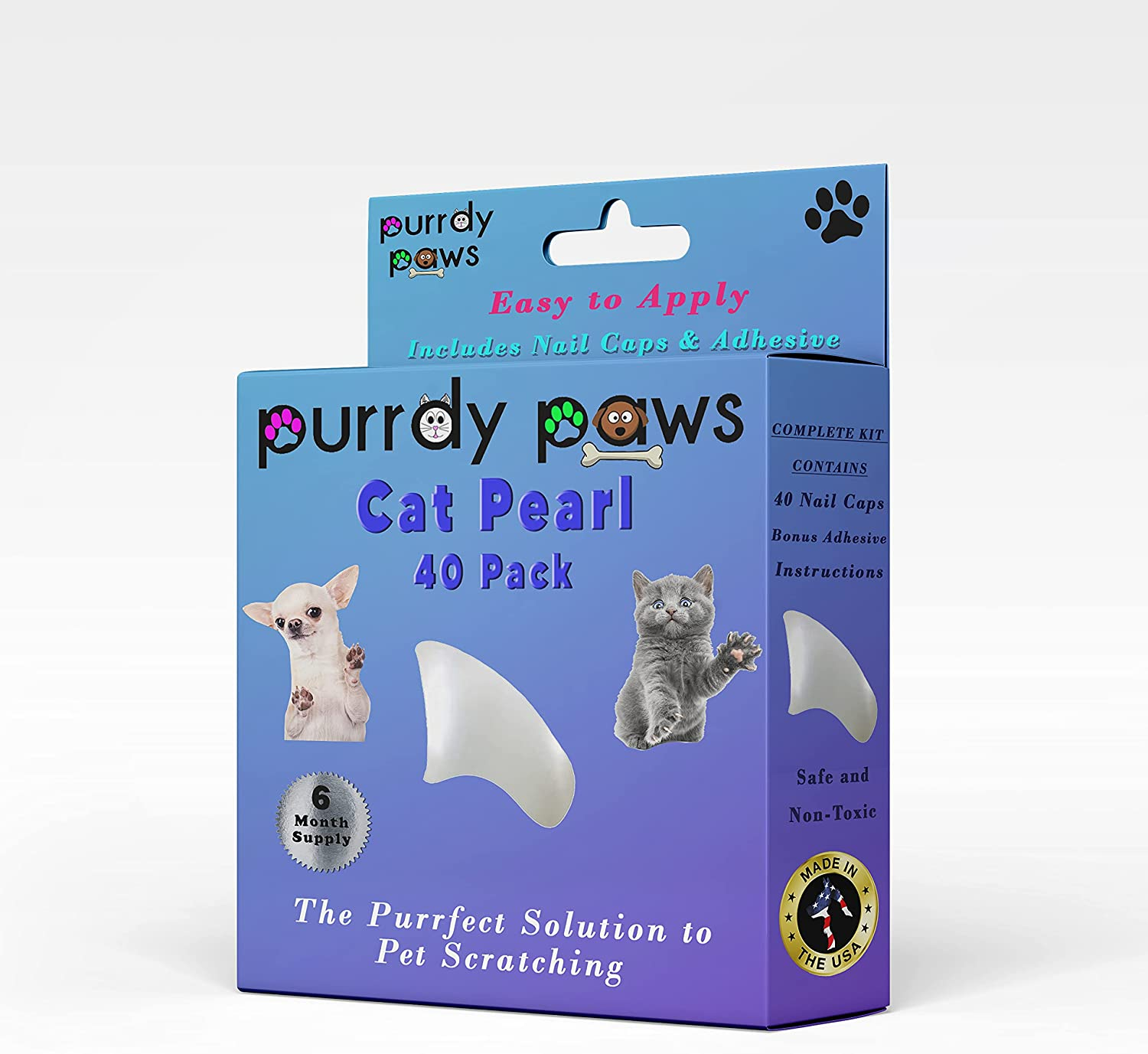 Purrdy Paws Easy-to-use Pearl Soft Online limited product Nail Caps for Month Cats 6 Supply Ext -
