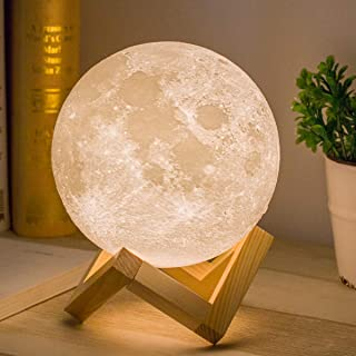 Moon Lamp, Balkwan 5.9 inches 3D Printing Moon Light uses Dimmable and Touch Control..