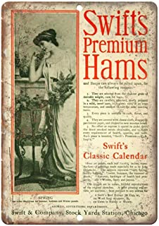 Lucky bamboo Vintage tin Signs,Swift's Premium Hams Vintage Food Safety Sign,Retro and Nostalgia for Wall Decor Art 8×12inches