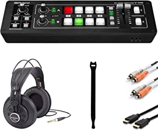 Roland V-1HD HD Video Switcher +Professional Reference Studio Headphones + High Speed HDMI Cable + Dual RCA Cable + Cable Ties (10)