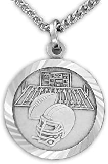 TrueFaithJewelry Sterling Silver Football Sports Medal with Saint Christopher Back, 3/4 Inch