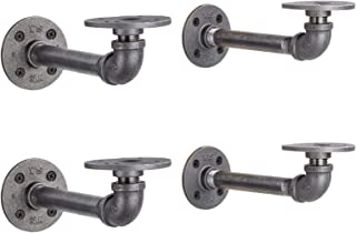 Rustic Pipe Decor Industrial Shelf Brackets – Double Flange Bracket Set of Four, Iron Metal Grey Black Fittings, Custom DIY Floating Shelves, Vintage Furniture Decorations, Wall Mounted (6 Inch Pipe)