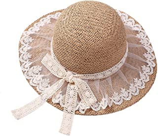 38893301746aa Summer Floppy Straw Sun Hat with Lace Bow Big Wide Brim Lace Up Caps Beach  UV