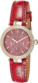 ساعة مايكل كورس للنساء بمينا احمر وسوار جلدي - MK6451