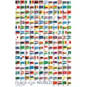 24x36 Frame USA Laminated Flags of The World Poster Print