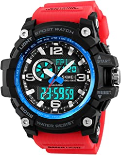 TONSHEN Mens Large Dial Digital Watch Outdoor Military 50M Waterproof Analog Quartz LED Electronic Three Time Plastic Case with Rubber Band Multifunction Sport Wrist Watches (Blue Red)
