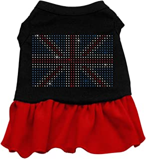 Mirage Pet Products Rhinestone British Flag 18-Inch Pet Dress, XX-Large, Black with Red