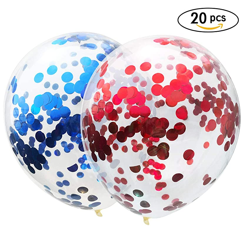AMAWILL 20 Pcs Red Blue Confetti Balloons, 12 Inches Party Balloons with Red Blue Paper Confetti Dots for Party Wedding Decorations