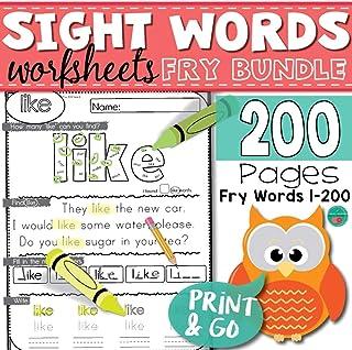 200 Sight Words Worksheets Homework, Printables Learning PDF Electronic File JoinBuy
