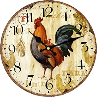 MEISTAR Office Decorative Animal Wall Clock,14 Inch Wooden Antique Super Large Arabic..