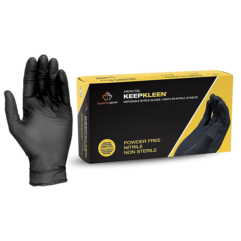 Superior Black Nitrile Gloves, Latex Free Glove, Disposable Gloves, Powder Free, Ultra Thin 3.5 mil Thickness, 9