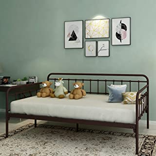 Metal Daybed Bed Frame with Classic Style Premium Steel Slat Victorian Bed Mattress Foundation for Guest Room,Twin,Bronze