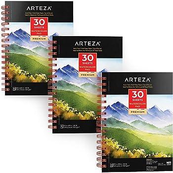 Arteza Cuadernos de acuarela   13,9x21,6 cm   Pack de 3 blocs de 30