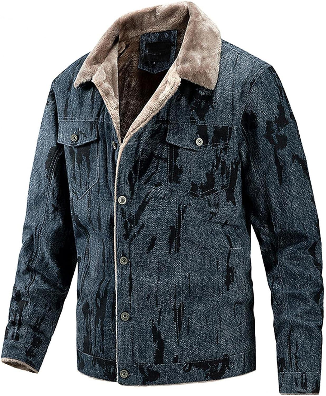 JSPOYOU Mens Plus Szie Warm Jackets Sherpa Fleece Lined Lapel Button Down Coat Casual Slim Fit Fur Collar Trucker Jacket