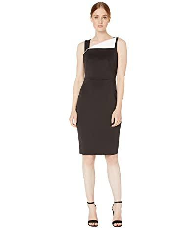 Calvin Klein Fold-Over Neck Sheath Dress (Black/Cream) Women