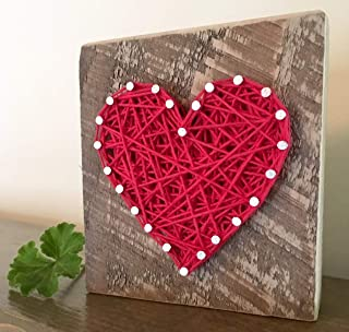 Sweet & small red string art heart block sign and gift. Great stocking stuffer. Gift for anniversaries, housewarming, teachers, congratulations & just because gifts by Nail it Art.