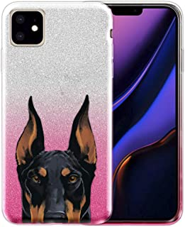 FINCIBO Case Compatible with Apple iPhone 11 6.1 inch 2019, Shiny Sparkling Silver Pink Gradient Glitter TPU Protector Cover Case for iPhone 11 (NOT FIT 11 Pro) - Black Rust Doberman Pinscher Dog