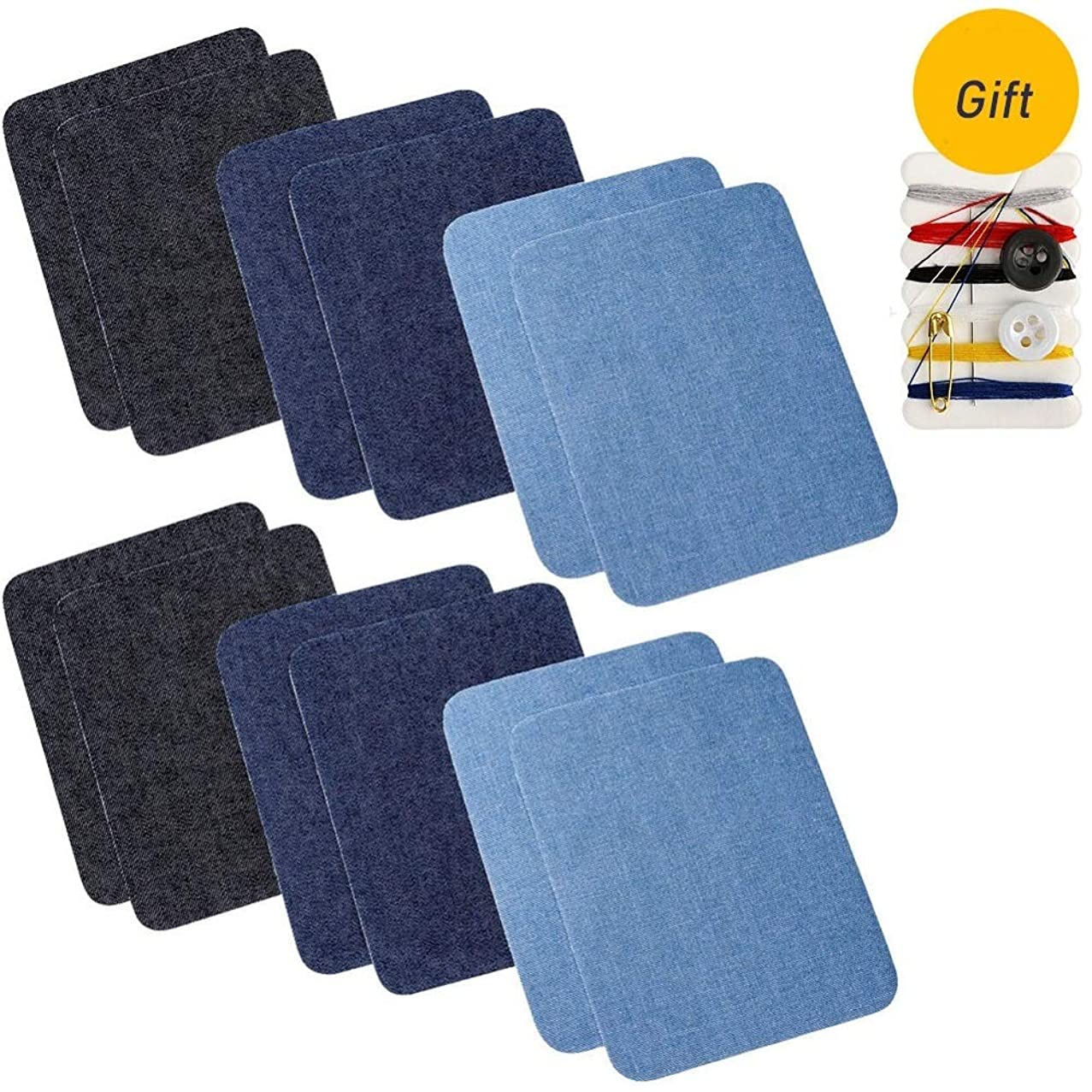 20pcs Iron on Denim Patches Fabric Patches for Clothing Jeans, Iron on Repair Kit, 10 Colors(4.9