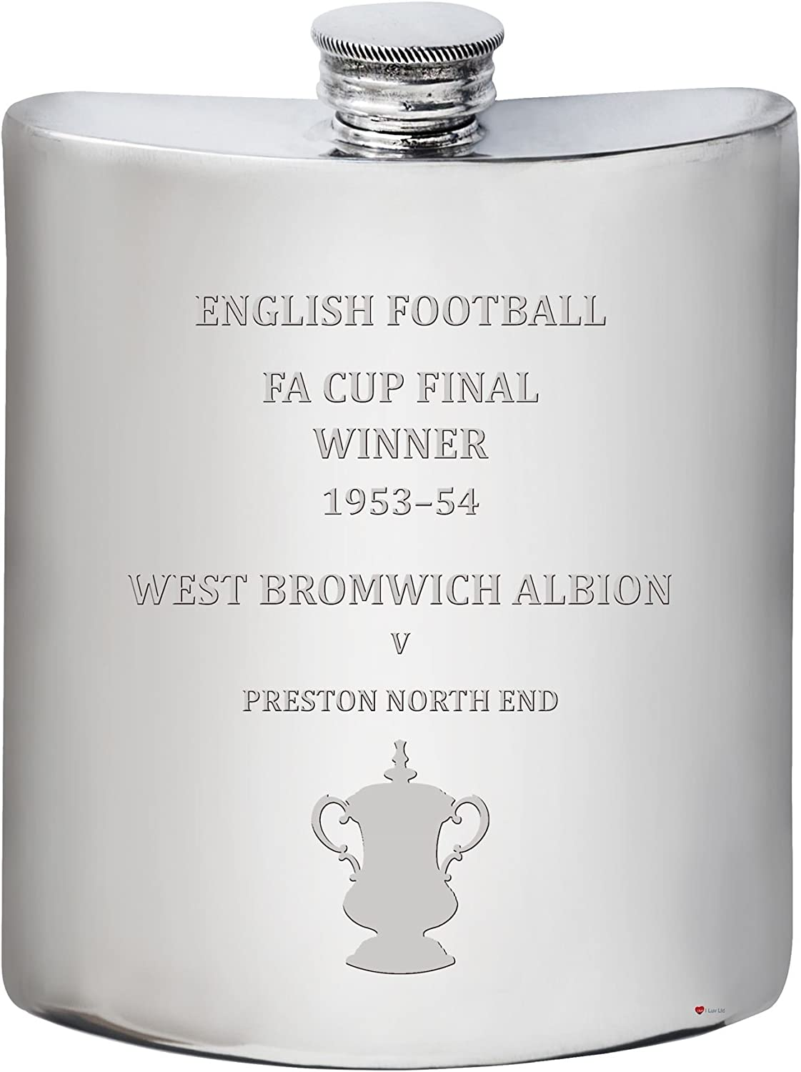 """West Bromwich Albion English FA Cup Winner 1953a """"54, 6oz Pewter Hip Flask"""