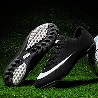 DOUDOU Zapatos de fútbol Transpirables Hombres y Mujeres Zapatos de Entrenamiento de la Escuela Intermedia de césped Artificial Zapatos de Punta Corta,White,39